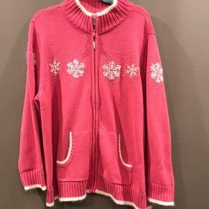 Quacker factory snowflake holiday sweater plus 2X